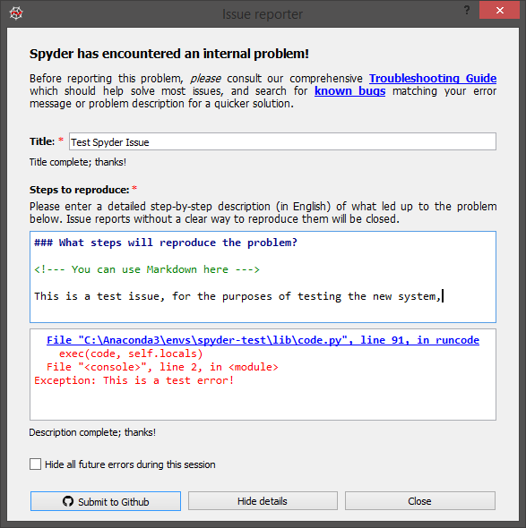 The new error reporting interface, with a title field, more descriptive text, and a polished UI