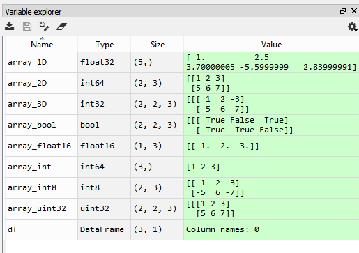 Variable Explorer, with a variety of array types displayed