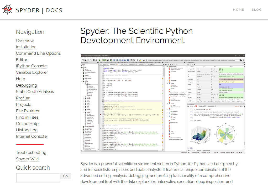 Preview of new Spyder documentation website, displaying a modern theme/layout and better screenshots